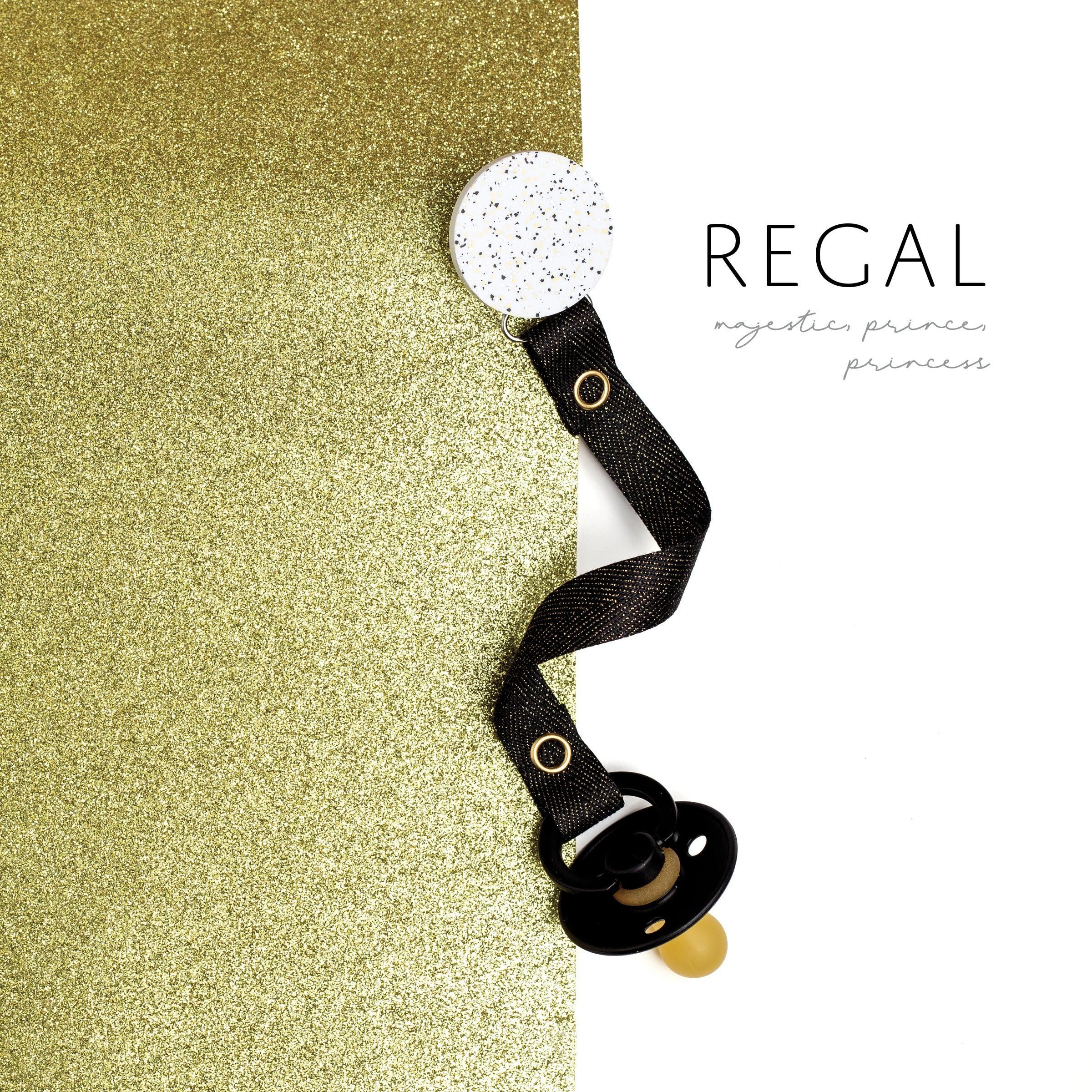 Classy Paci Speckled metallic gold black silver circle pacifier clip