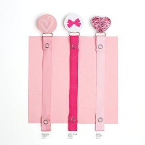 Classy Paci Hot pink bow on white clip with Bibs Pacifier GIFT SET