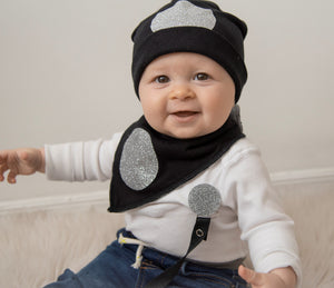 Black with silver circle sparkle bib, hat, pacifier clip DELUXE GIFT SET