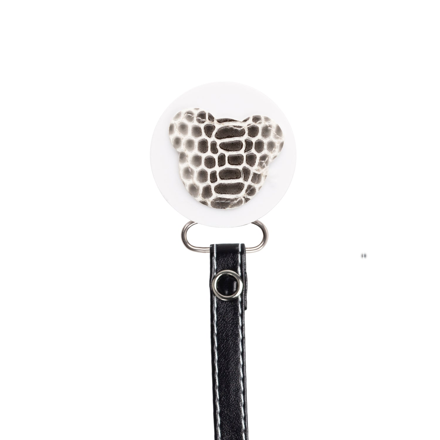 Classy Paci Black White Croc Teddy, Grey, girl boy baby pacifier clip GIFT SET