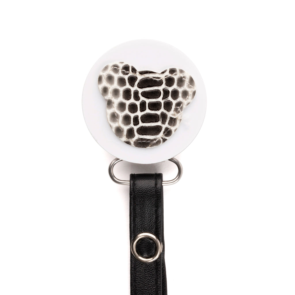 Classy Paci Black White Croc Teddy, Grey, girl boy baby pacifier clip