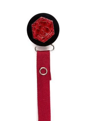 Classy Paci Maroon Croc Hexagon, red, black, burgundy pacifier clip GIFT SET