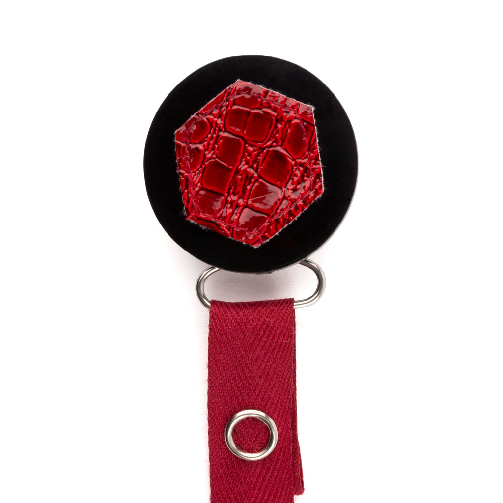 Classy Paci Maroon Croc Hexagon, red, black, burgundy pacifier clip
