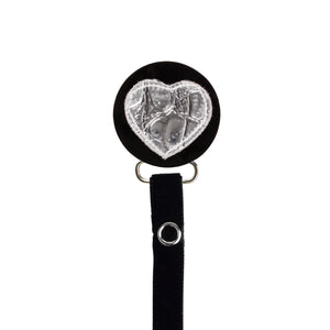 Classy Paci Silver Croc Heart, black, girl baby pacifier clip GIFT SET