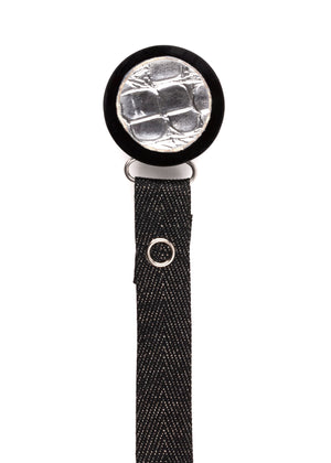 Classy Paci Silver Croc Circle, black,  boy baby pacifier clip GIFT SET
