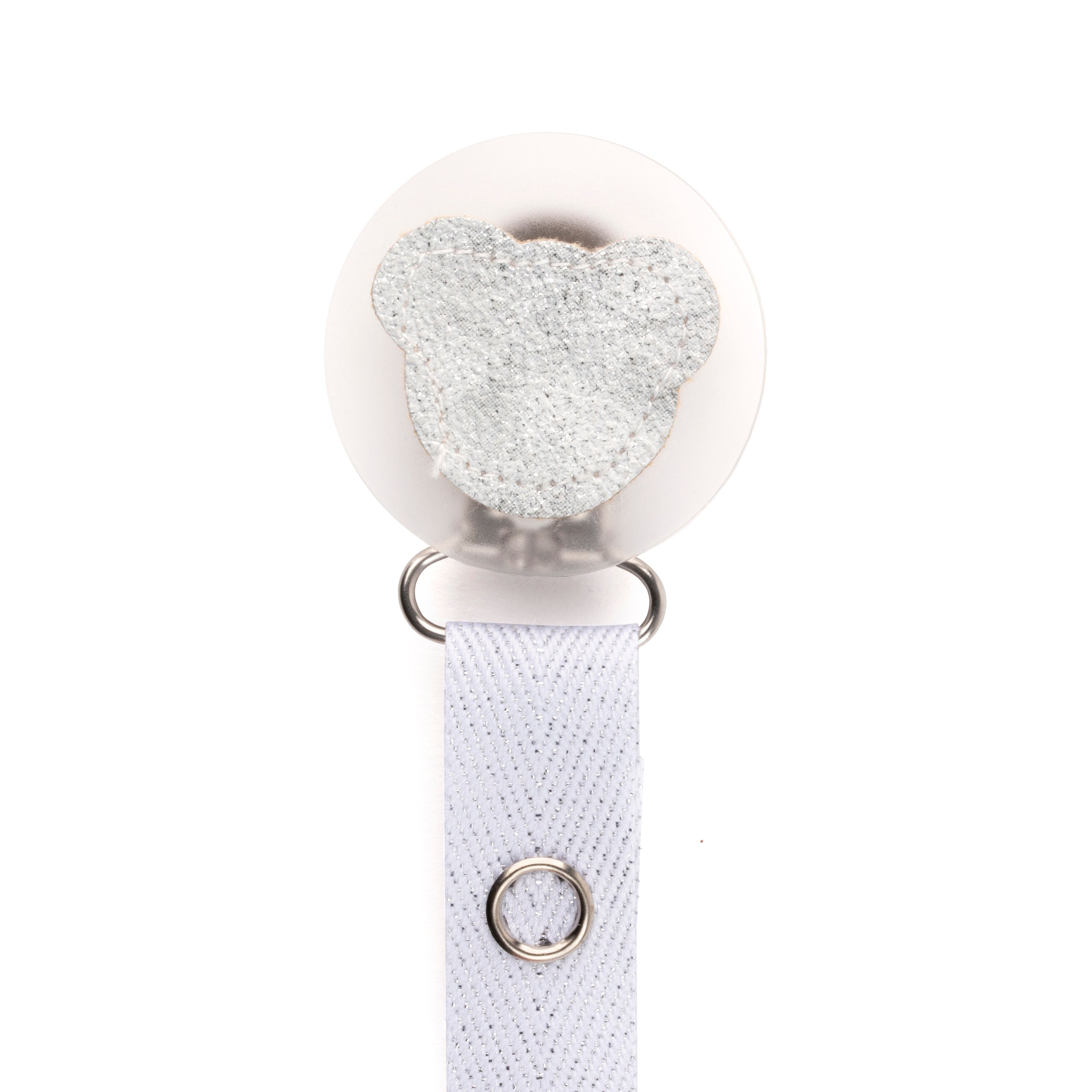 Classy Paci sparkle WHITE leather Teddy, Silver, Grey, girl boy baby pacifier clip