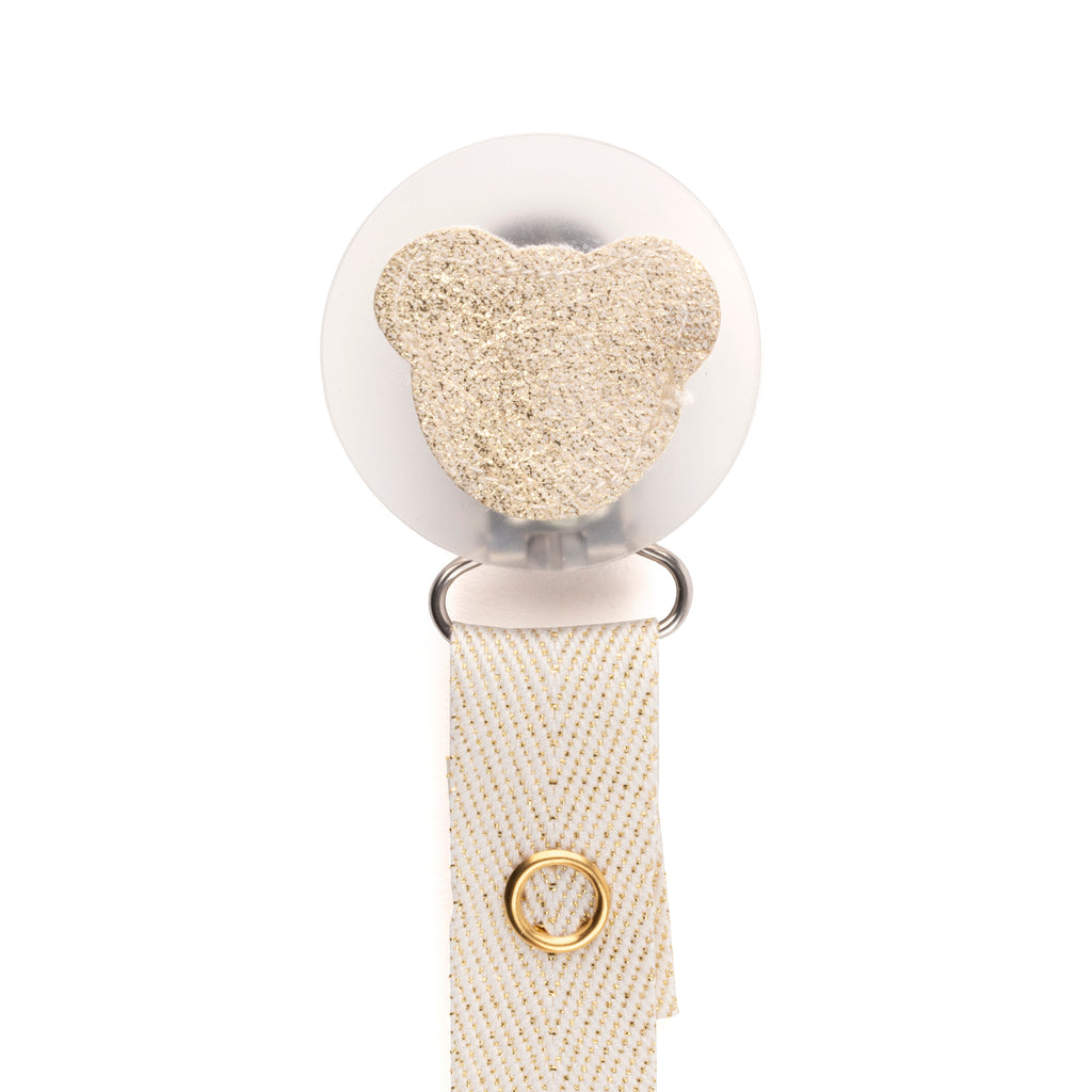 Classy Paci sparkle cream leather Teddy, Gold, Beige, girl boy baby pacifier clip