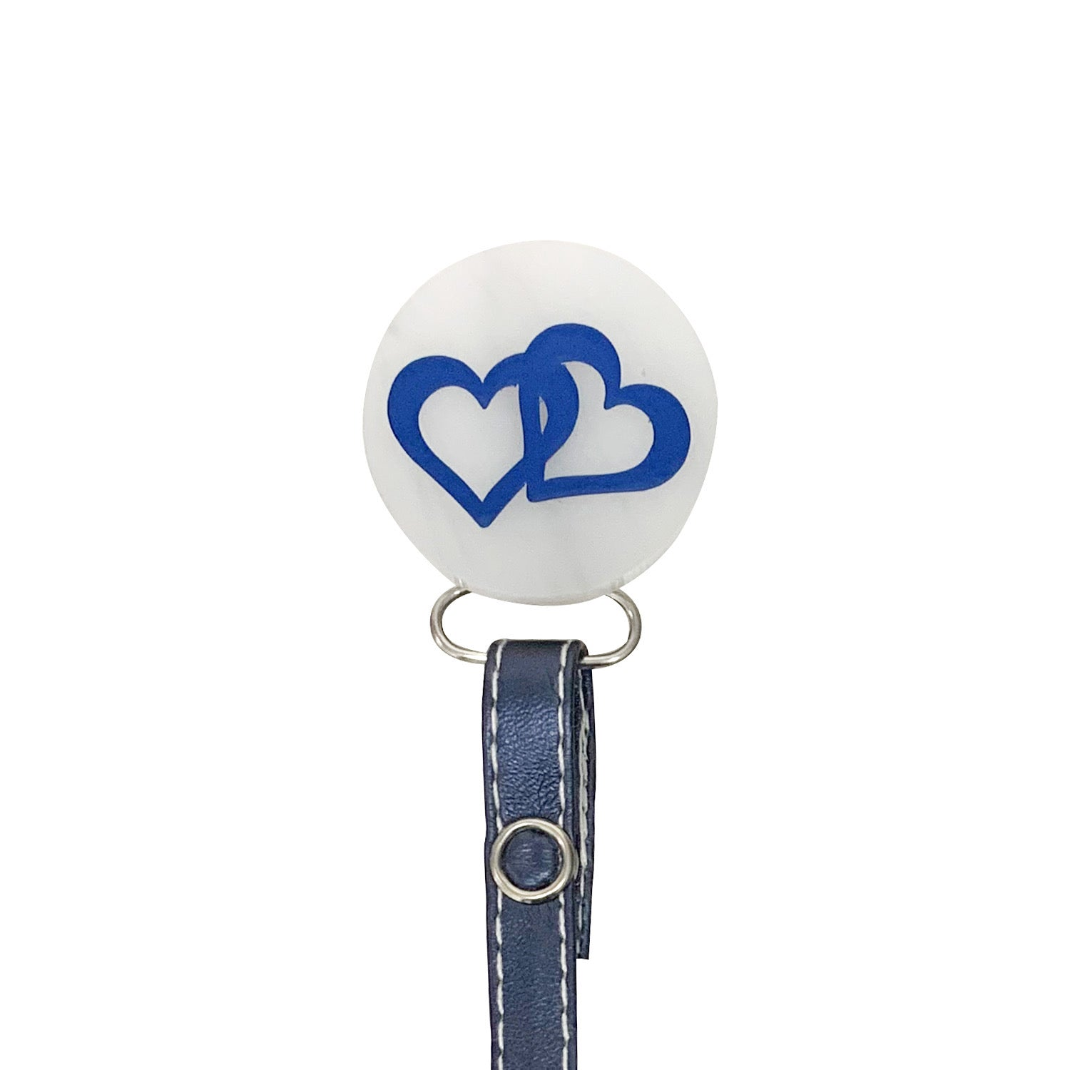 Classy Paci Marble white multicolored heart circle pacifier clip leather ribbon SPECIAL EDITON