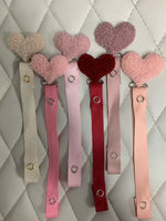 Sherpa Shapes = hearts in many colors mauve, grey, off white, pink, navy cozy pacifier clips