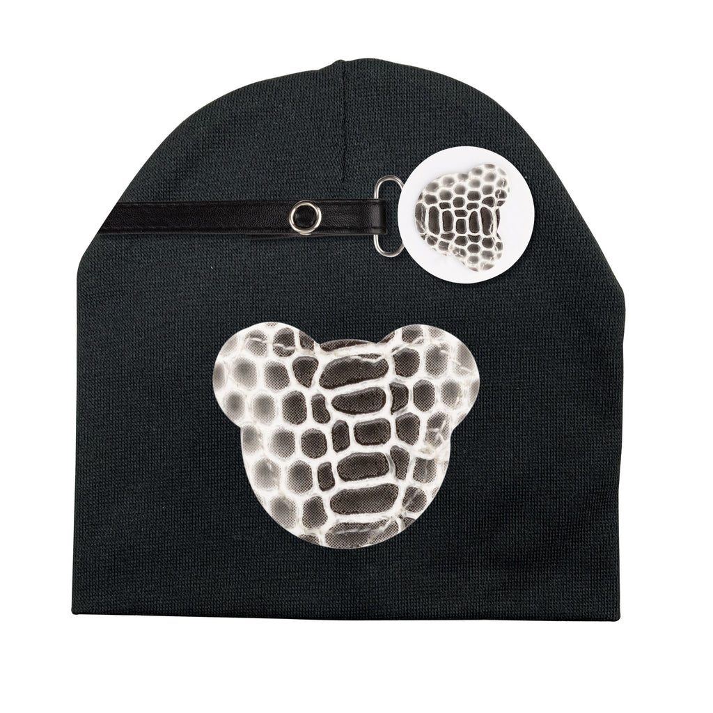 Black and white Crocodile leather Teddy hat and clip GIFT SET