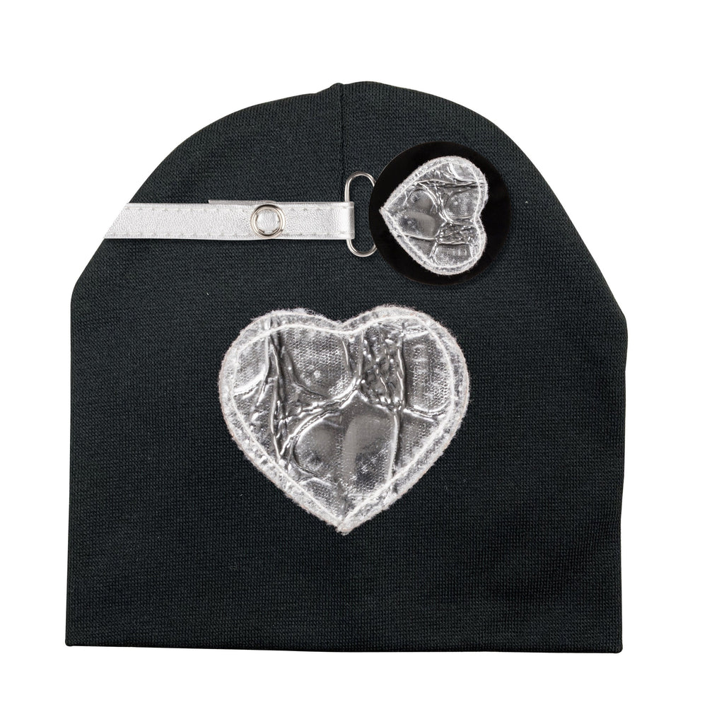 Silver Crocodile leather Heart hat and clip GIFT SET