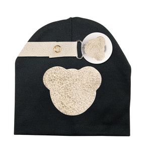 Gold metallic Sparkle leather Teddy hat and clip GIFT SET