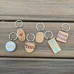 Personalized wooden keychain circle, heart, rectangle, square shape Great Gift
