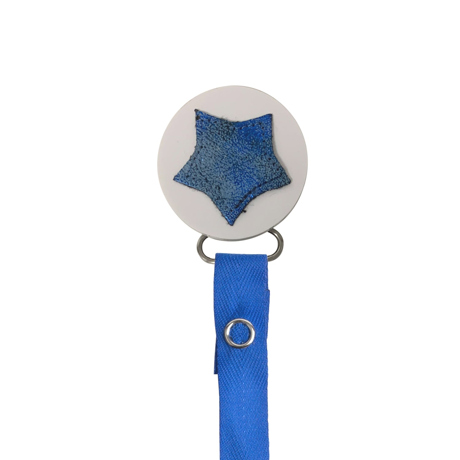 Classy Paci sparkle BLUE leather Star, Silver, Grey, girl boy baby pacifier clip