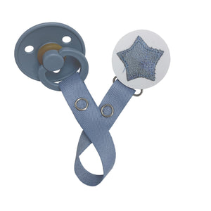 Classy Paci sparkle BLUE leather Star, Silver, Grey, girl boy baby pacifier clip GIFT SET