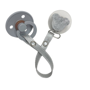 Classy Paci sparkle WHITE leather Teddy, Silver, Grey, girl boy baby pacifier clip GIFT SET