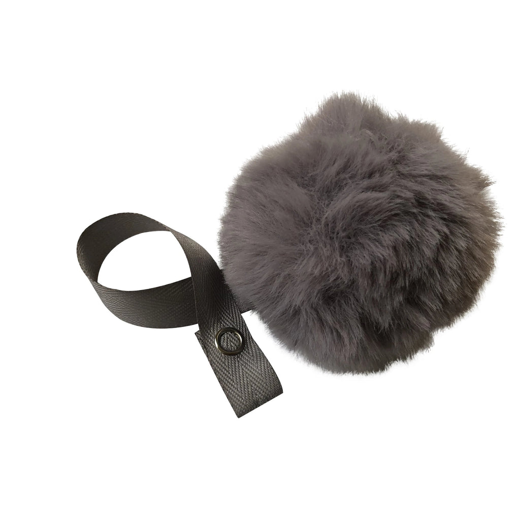 Grey Big Fur Pom Pom pacifier clip