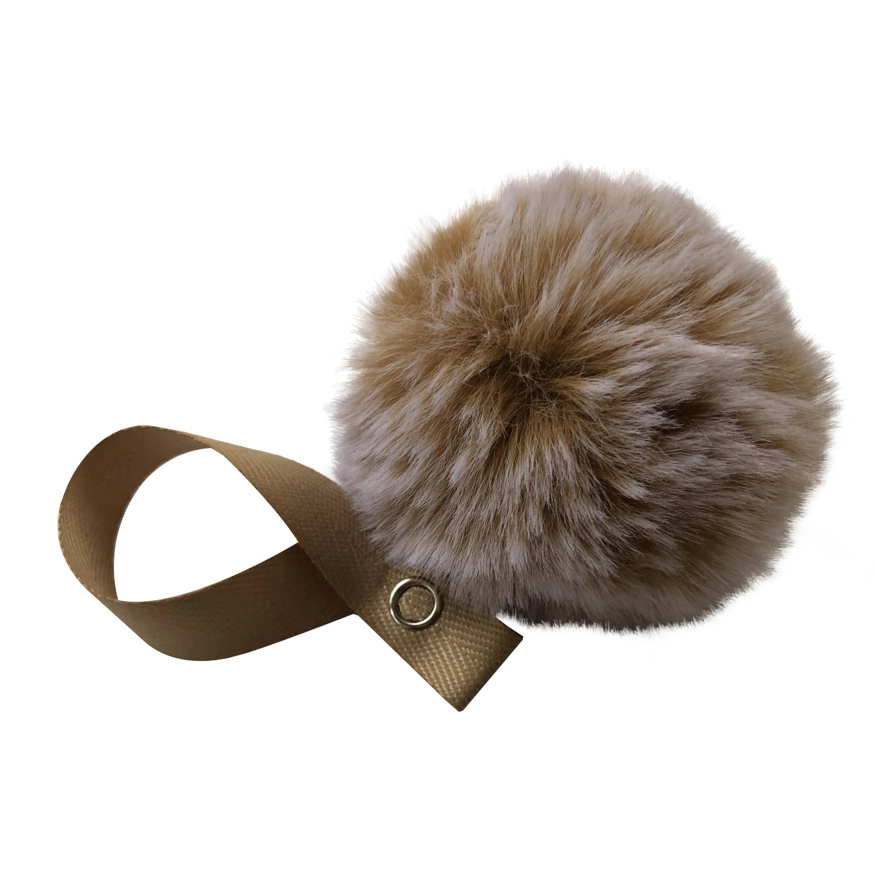 Beige Big Snow Fur Pom Pom
