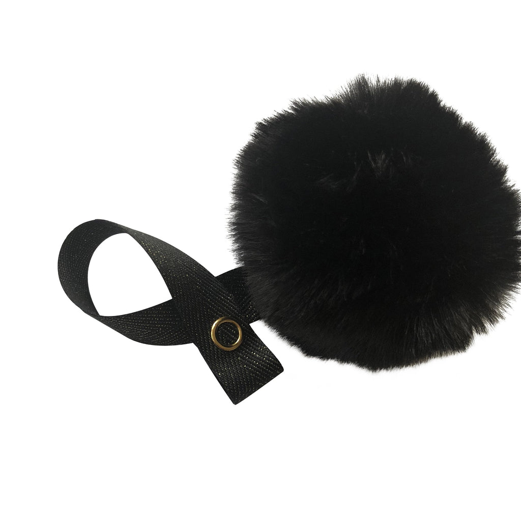 Black Big Fur Pom Pom
