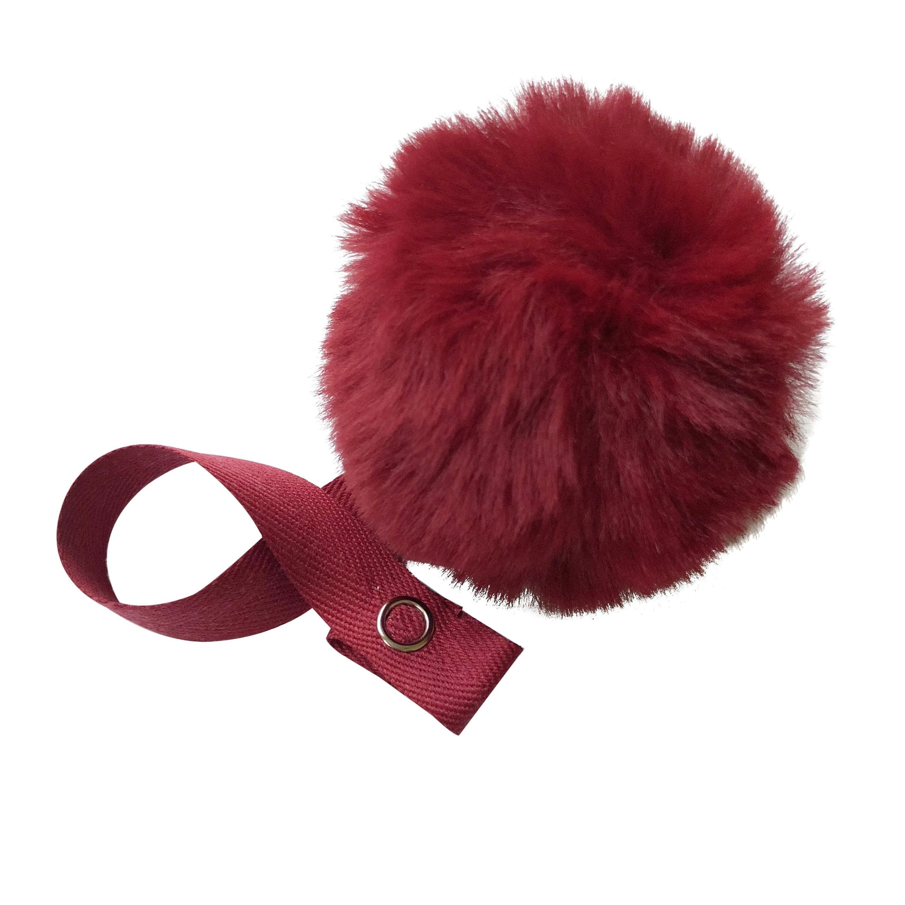 Burgundy Big Fur Pom Pom