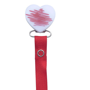 Classy Paci DOODLE Red Heart pacifier clip with Bibs pacifier GIFT SET