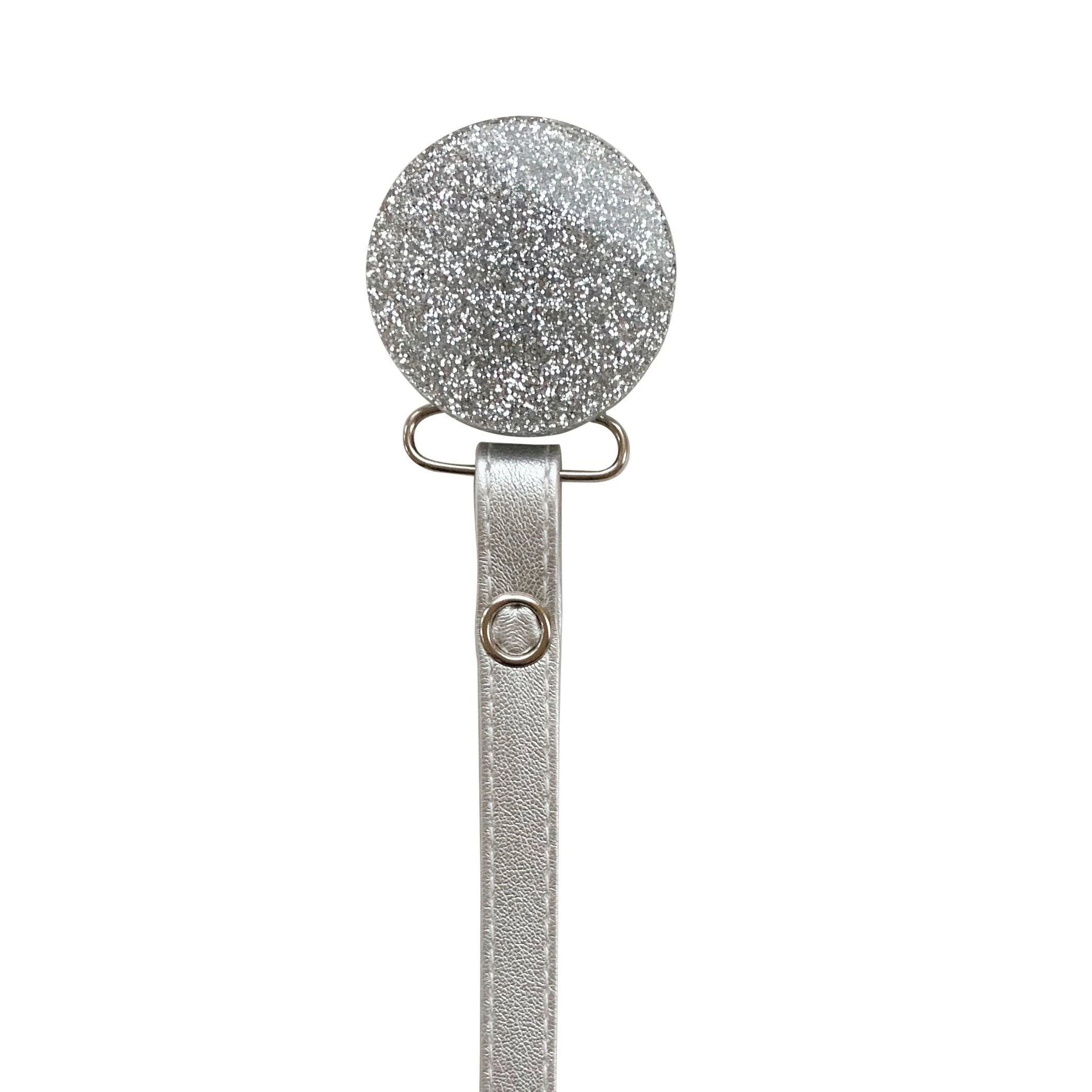 Classy Paci TWINKLE  Silver Round pacifier clip
