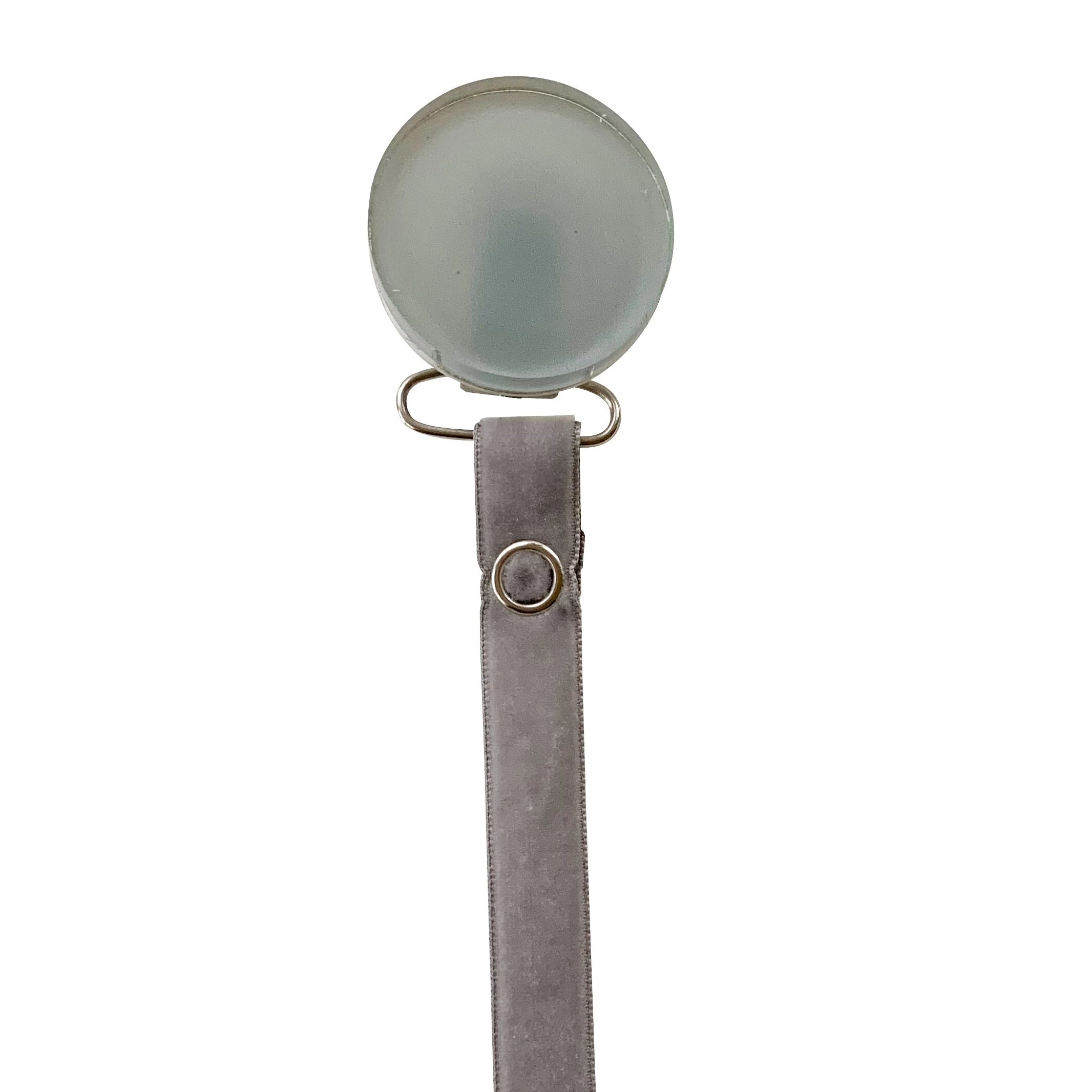 Classy Paci SLEEK Grey Round pacifier clip