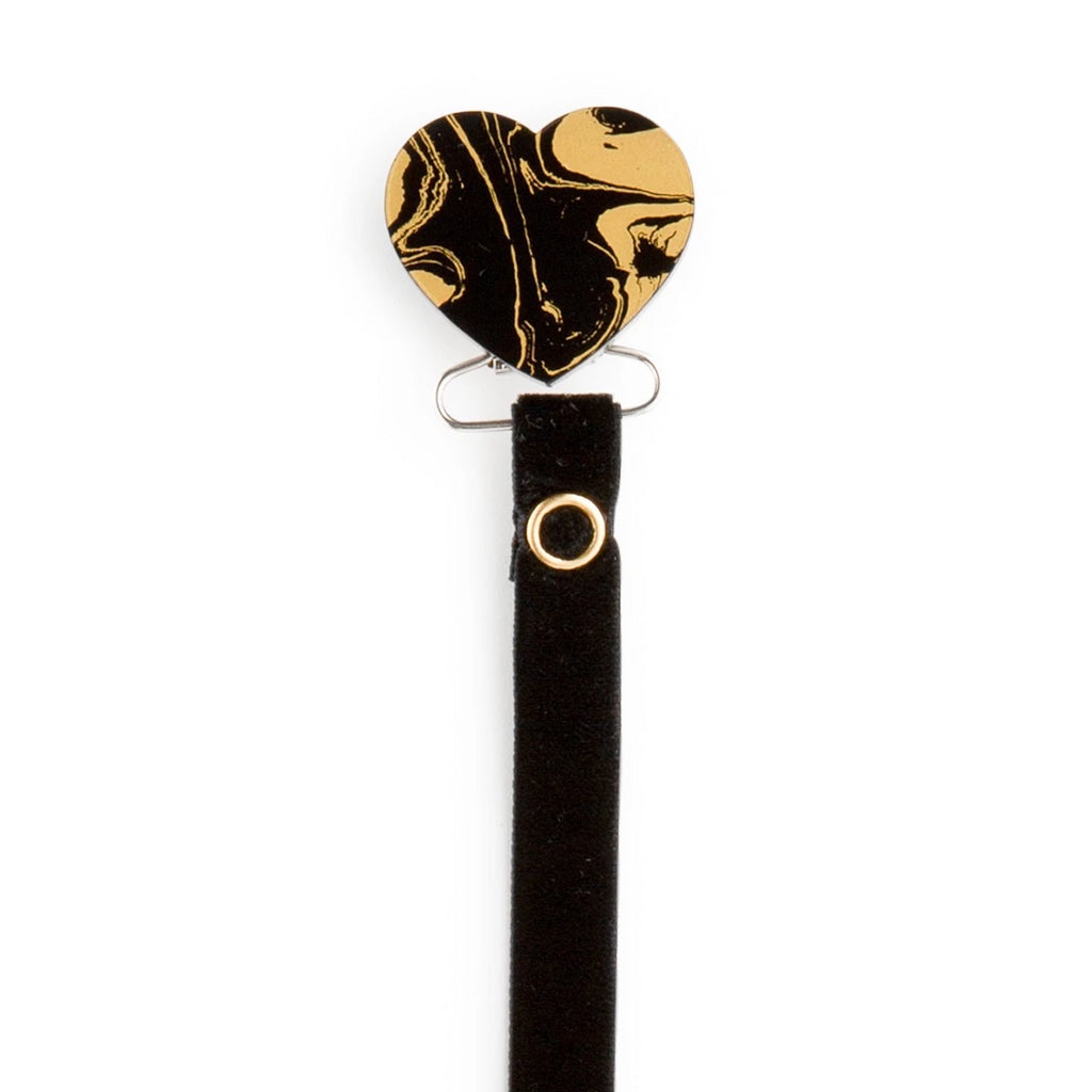 Classy Paci MARBLE black and gold heart pacifier clip