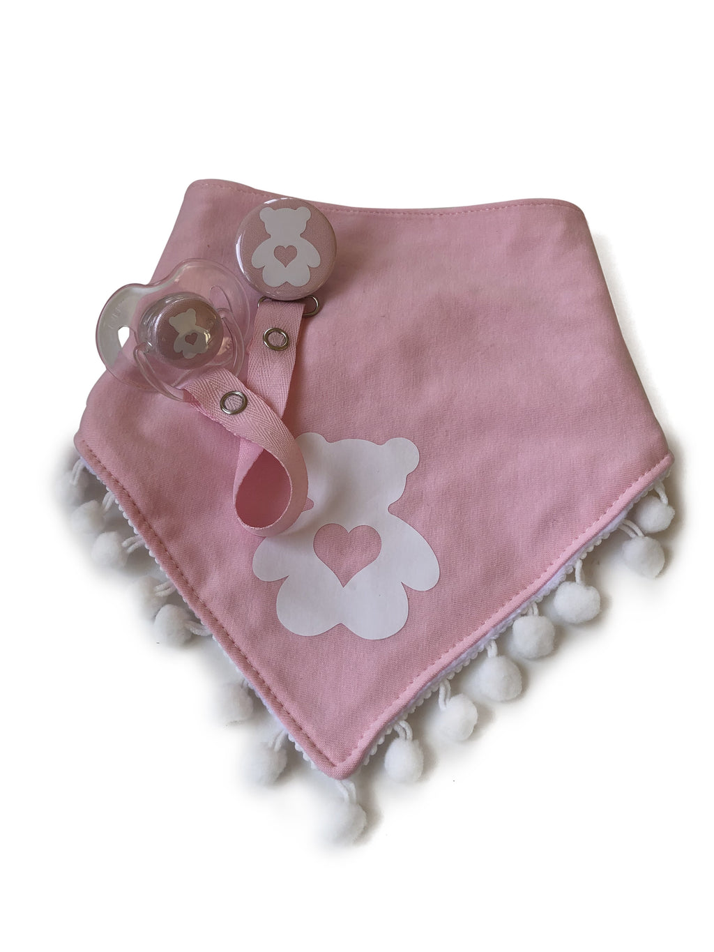 White Teddy bear heart, Pink Bib & Pacifier Clip with Matching Pacifier Gift Set boy girl