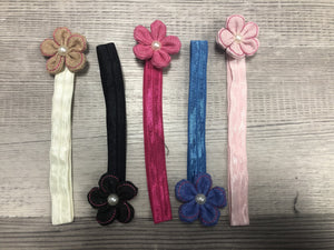 Mini linen flower Headbands clearance