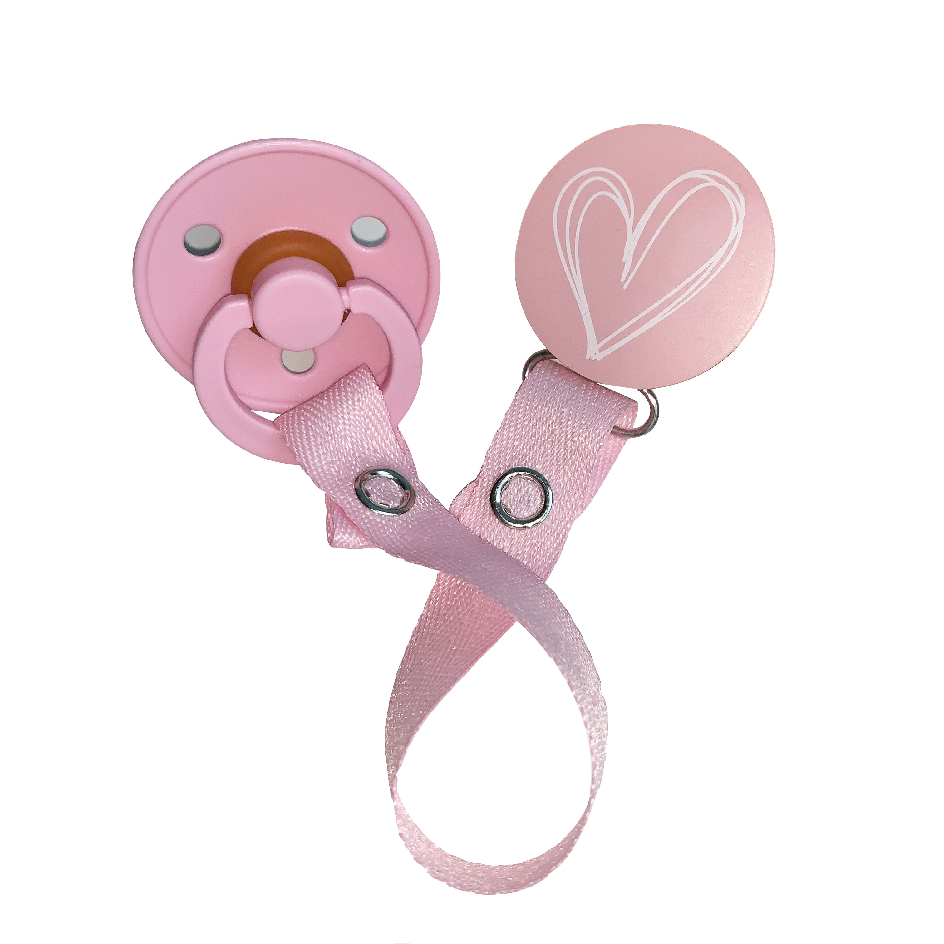 Classy Paci blush pink drawn white heart clip with Bibs pacifier GIFT SET