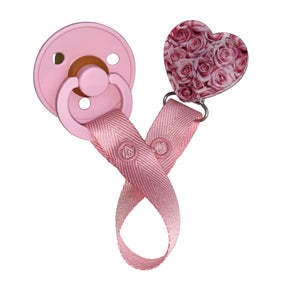 Classy Paci hues of pink roses heart clip with BIBS pacifier GIFT SET