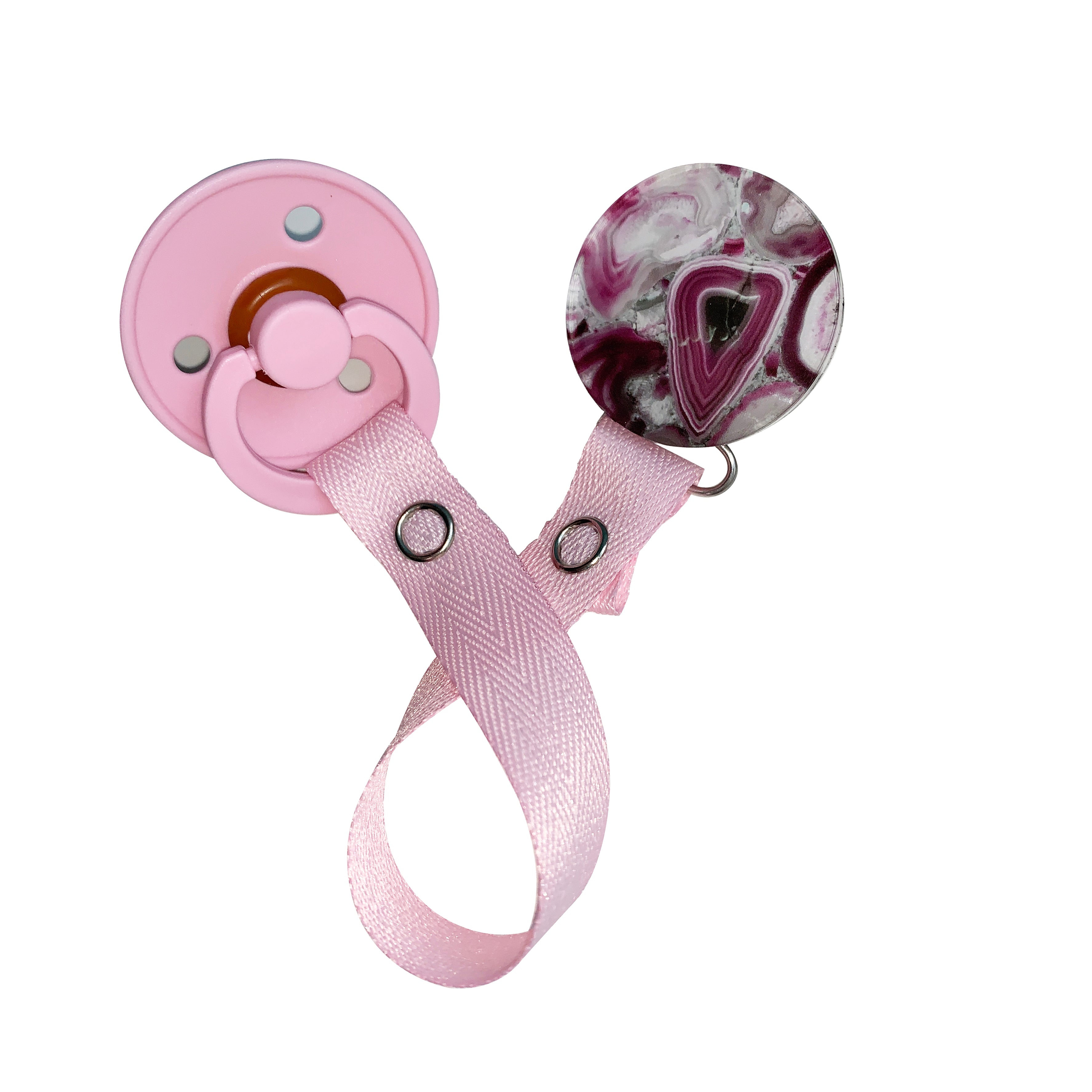 Classy Paci Magenta burgundy pink Agate  circle clip with BIBS pacifier GIFT SET