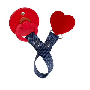 Classy Paci Red heart clip with BIBS pacifier GIFT SET