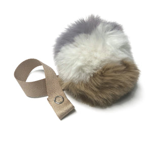 Tri Color Beige, Grey & White Fur Pom Pom