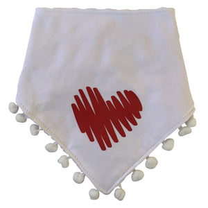 White with Red Doodle heart bib and clip GIFT SET