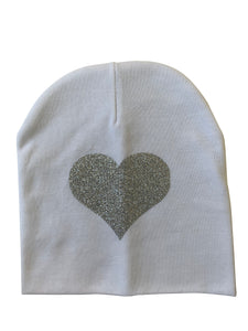 White with silver heart sparkle bib or hat and clip GIFT SET