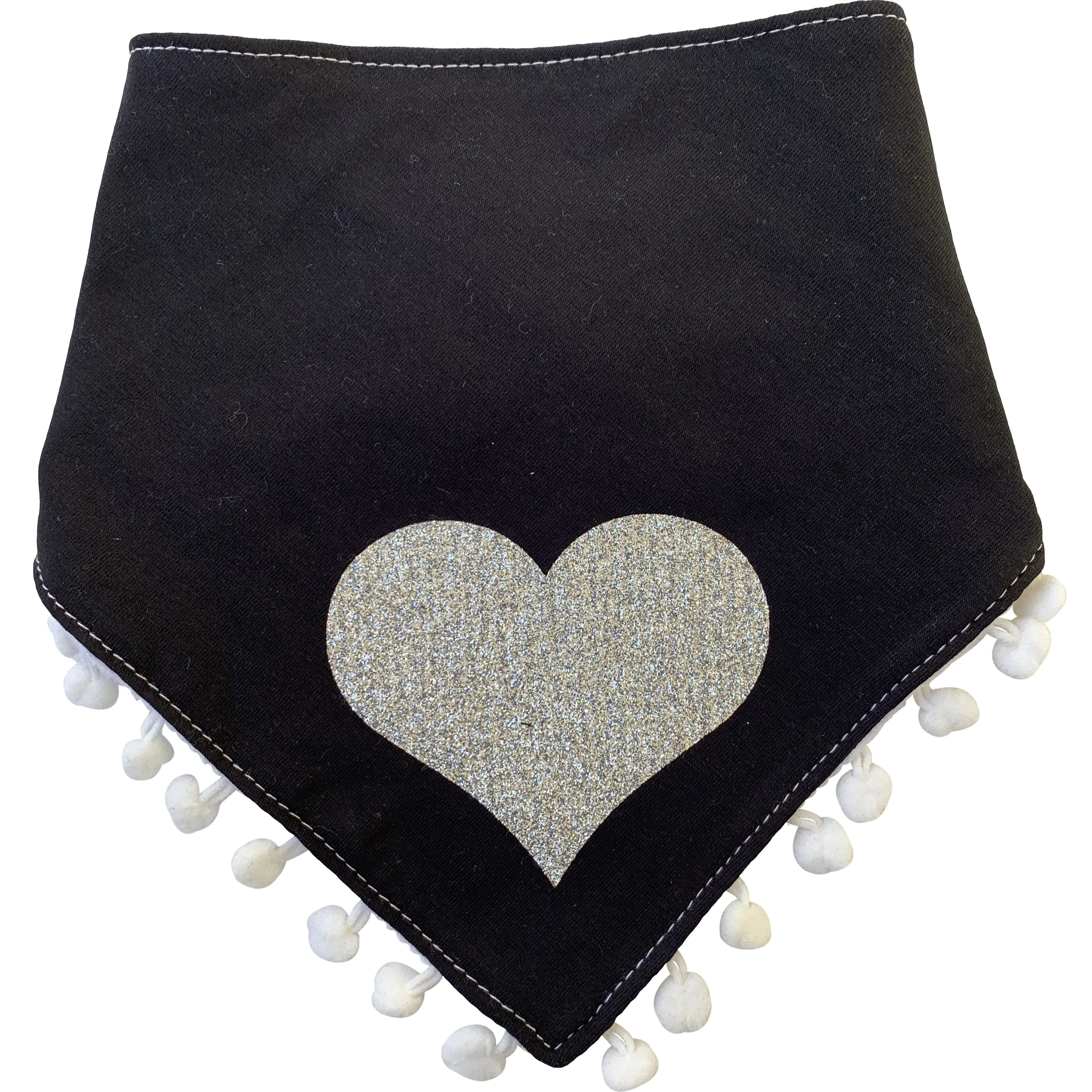 Black with silver sparkle heart bib and clip GIFT SET