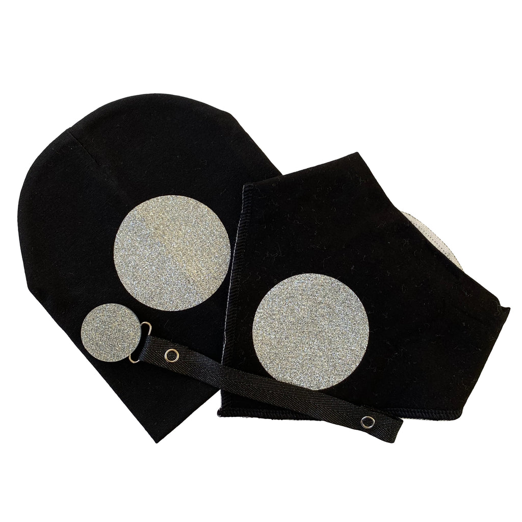 Black with silver circle sparkle bib or hat and clip GIFT SET
