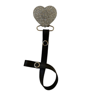 Classy Paci TWINKLE Silver heart pacifier clip