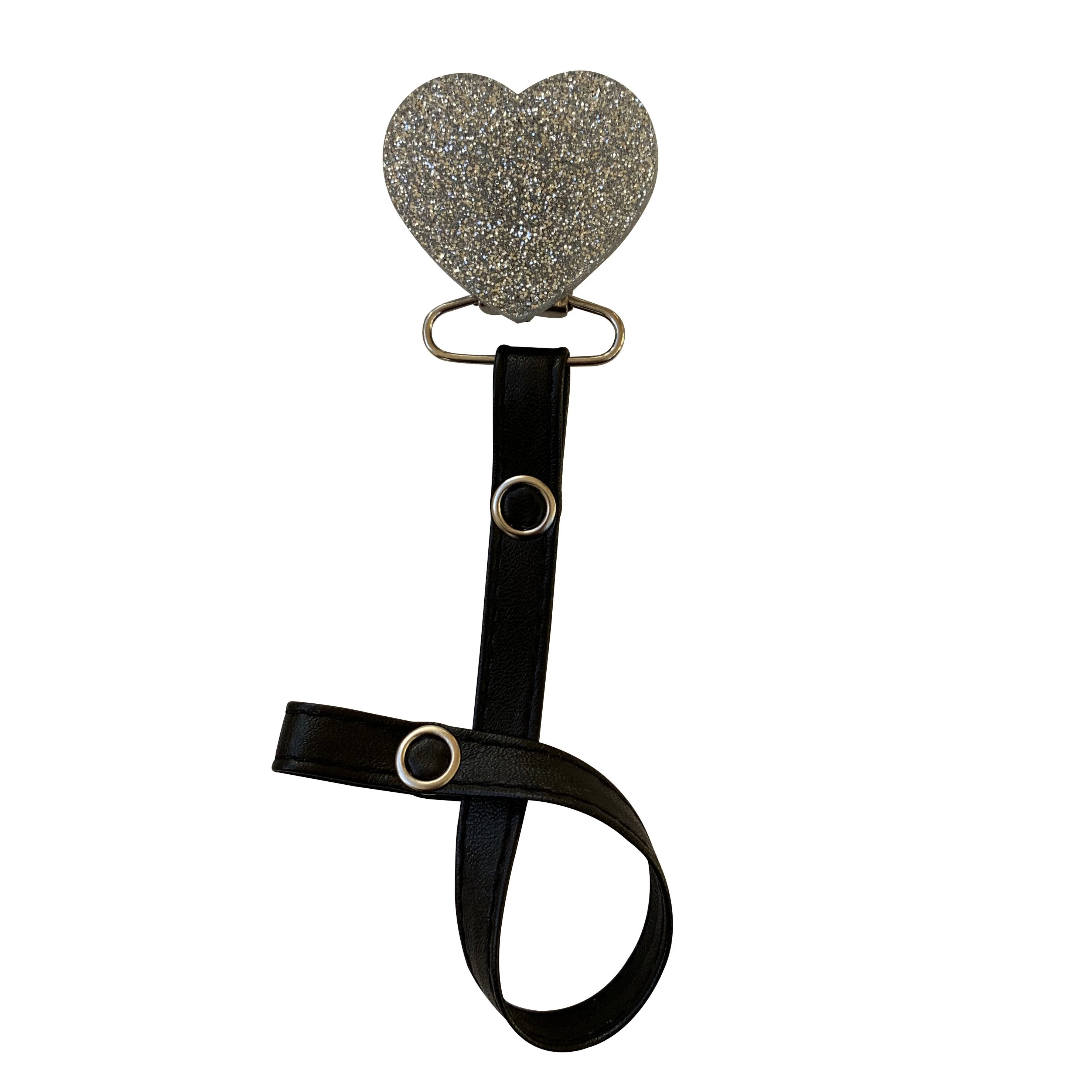Classy Paci TWINKLE Silver heart clip with Bibs grey pacifier GIFT SET