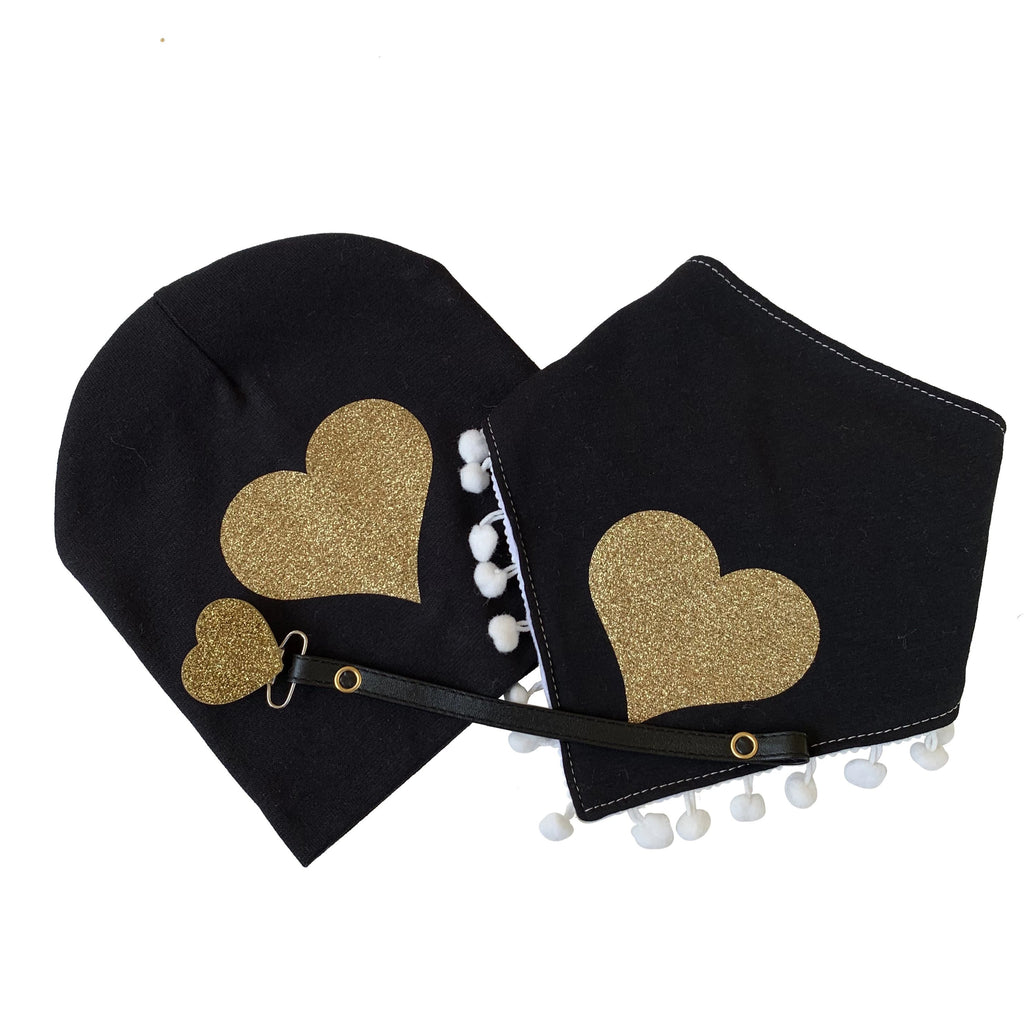 Black with Gold sparkle heart bib or hat and clip GIFT SET