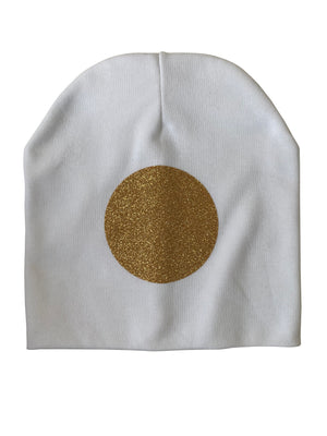 White with Gold circle sparkle bib or hat and clip GIFT SET
