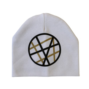 White CHIC with Black & Gold design circle hat and clip GIFT SET