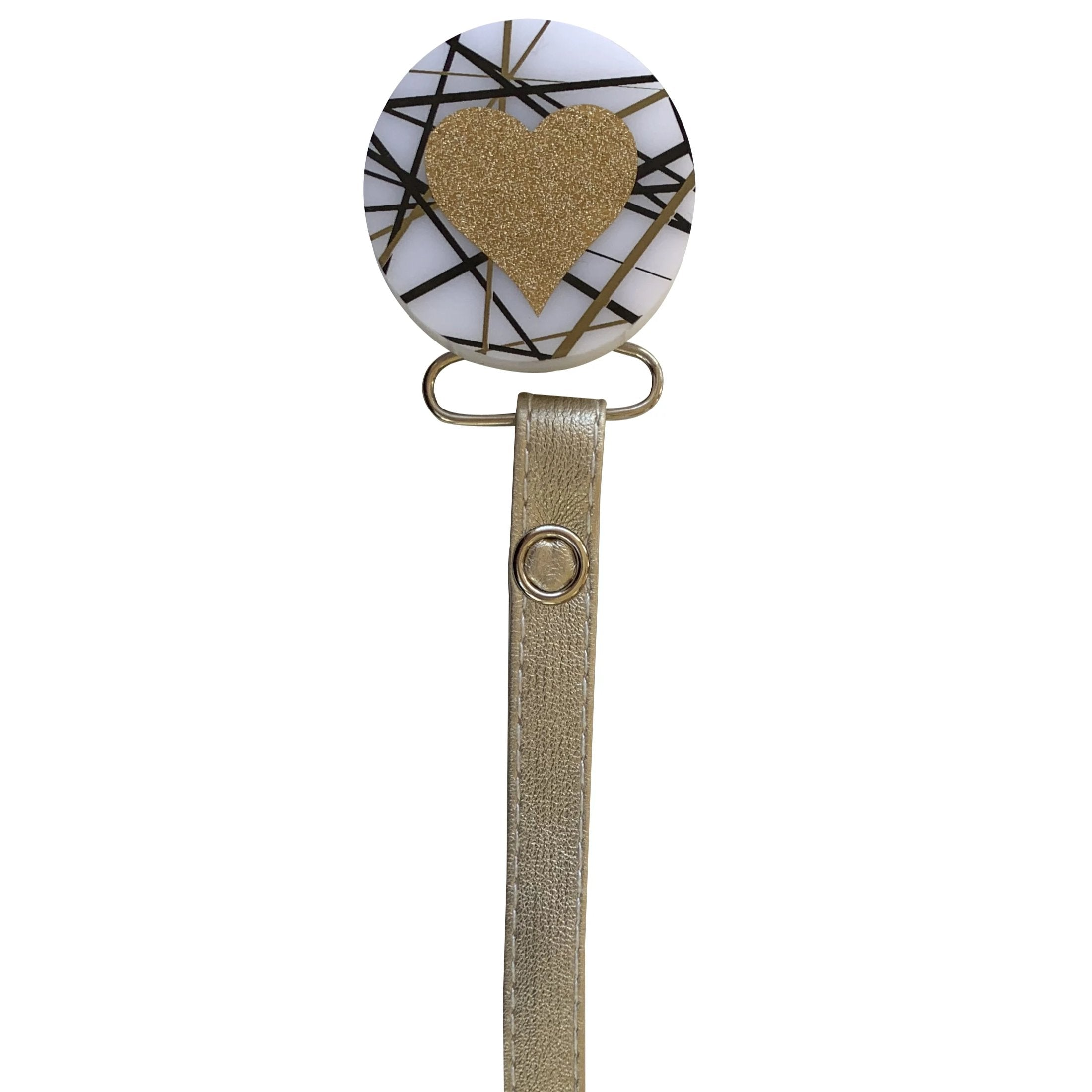 Classy Paci CHIC Gold Mix Round with heart Pacifier clip