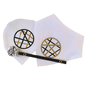 White CHIC with Black &  Gold stripe cirlce bib or hat and clip GIFT SET