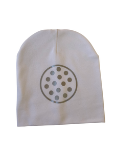 White CHIC with Silver dot circle bib or hat and clip GIFT SET