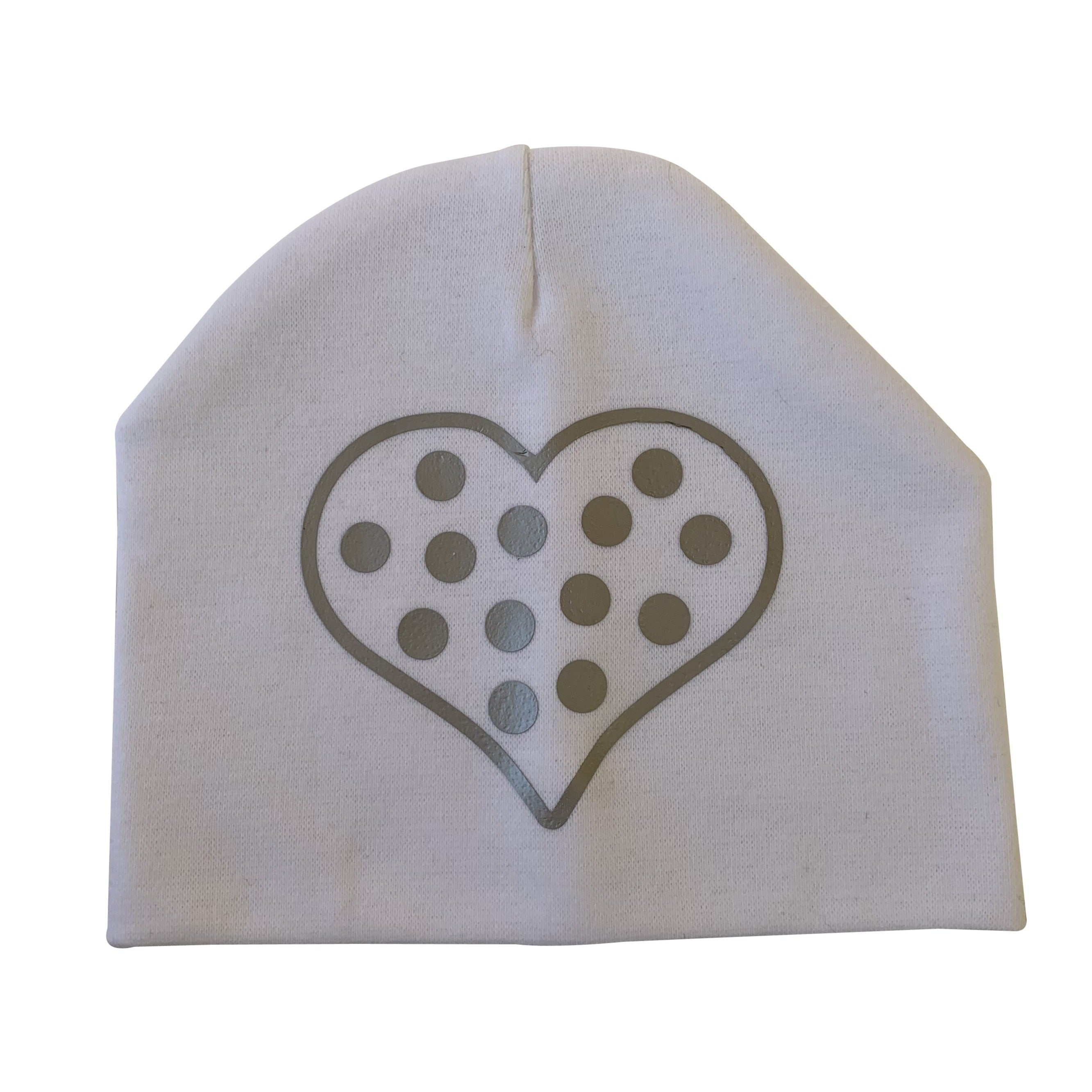 White CHIC with Silver dot heart hat and clip GIFT SET