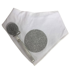 White with silver circle sparkle bib and clip GIFT SET
