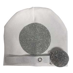 White with silver circle sparkle  hat and clip GIFT SET